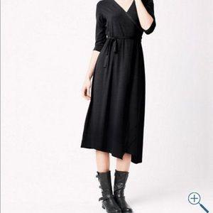 Eileen Fisher Black Wrap Dress Organic Cotton